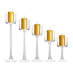 Świecznik szklane zestaw 5szt